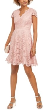 Vince Camuto Scalloped Lace Fit & Flare Dress