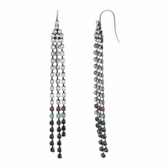 Steve Madden Women's Multi Color Stone Triple Strand Chandelier Black-Tone Earrings