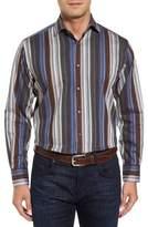 Thomas Dean Men's Regular Fit Multicolor Stripe Herringbone Sport Shirt