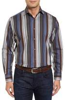 Thomas Dean Regular Fit Multicolor Stripe Herringbone Sport Shirt