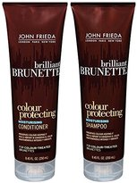 John Frieda Brilliant Brunette Colour Protecting Moisturising, DUO set Shampoo + Conditioner, 8.45 Ounce, 1 each
