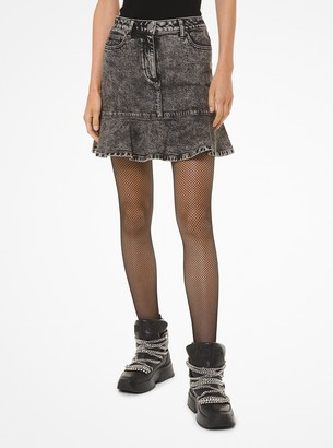MICHAEL Michael Kors Acid-Wash Denim Flounce Skirt