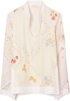 Tory Burch Embroidered Handkerchief Cotton & Silk Tunic Top