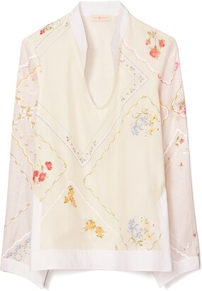 Tory Burch Embroidered Handkerchief Cotton & Silk Tunic Top