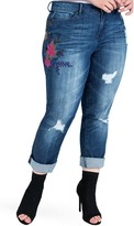 Standards & Practices Ex-Boyfriend Distressed Floral Embroidered Jeans (Plus Size)