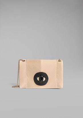 Giorgio Armani Pleated Chevron Leather Crossbody Bag With Plexiglass Closure
