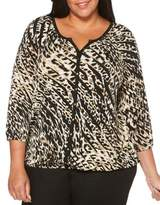Rafaella Plus Striped Animal Print Peasant Top
