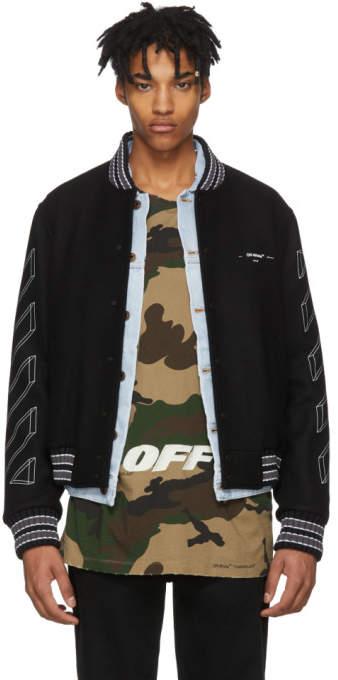 Off-White Black Diagonal 3D Line Varsity Jacket