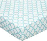American Baby Company 100% Cotton Percale Fitted Crib Sheet- Aqua Sea Waves
