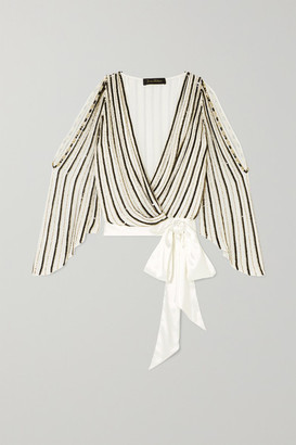 Jenny Packham Cutout Satin-trimmed Embellished Chiffon Wrap Blouse - White