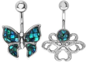 Mother of Pearl Bodifine Stainless Steel Synthetic Mosaic Belly Bars Set of 2
