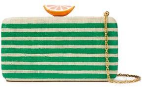 Kayu Appliqued Striped Woven Straw Clutch