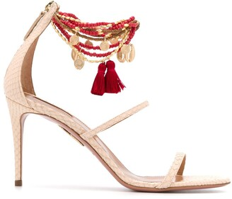 Aquazzura Beaded Ankle Stiletto Sandals