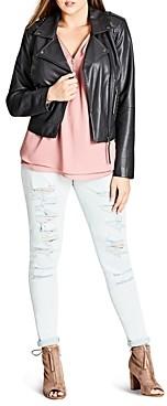 City Chic Plus Whipstich Faux-Leather Biker Jacket