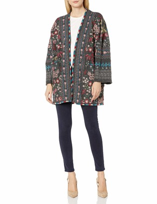 Johnny Was Biya by Women's Kimono Sleeved Sweater with All Over Embroidery