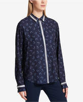 DKNY Logo-Printed Button-Front Shirt