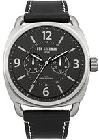 Ben Sherman Men's Quartz Watch with Black Dial Analogue Display and Black Leather Strap WB006B