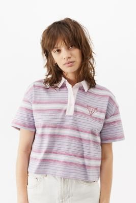 GUESS UO Exclusive Stripe Cropped Polo Top - Purple XS at Urban Outfitters