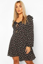 boohoo Plus Floral Lace Up Skater Dress