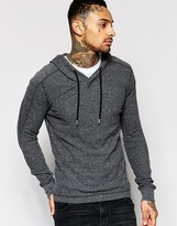Diesel Long Sleeve Top T-gourias Hooded Waffle In Dark Grey