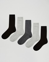 Asos Waffle Socks 5 Pack In Monochrome SAVE