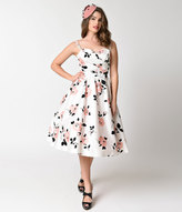 Stop Staring 1950s Style White & Pink Rose Print Swing Dress