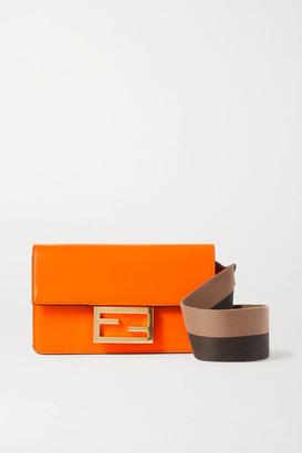 Fendi Baguette Canvas-trimmed Leather Shoulder Bag - Orange