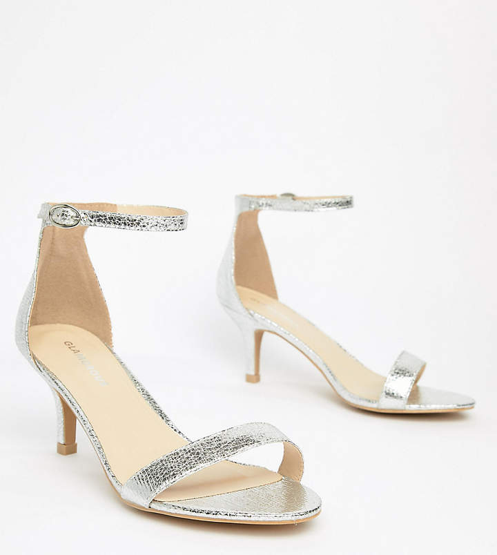 04c3f29d279 Glamorous Wide Fit Silver Kitten Heeled Sandals