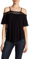 Jolt Crochet Trim Cold Shoulder Shirt