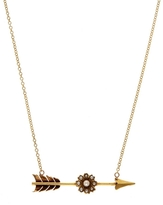 Annina Vogel Gold Pearl Flower Arrow Necklace