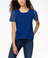 Charter Club Crew-Neck Crochet-Contrast T-Shirt, Created for Macy's