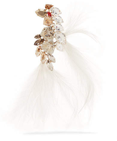 Lanvin Gold-tone, Feather And Crystal Brooch