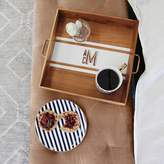 Striped Wood Acacia Tray, White