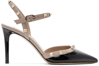 Valentino Black Garavani Patent Rockstud Slingback Heels