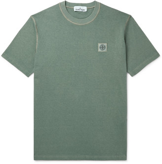 Stone Island Logo-Detailed Garment-Dyed Cotton-Jersey T-Shirt