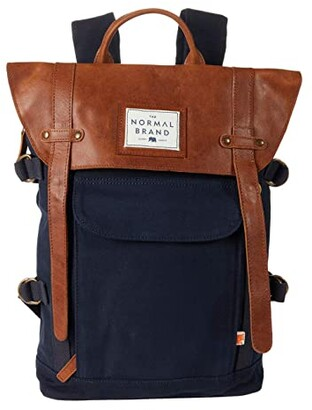 The Normal Brand Top Side Leather Backpack (Navy) Backpack Bags