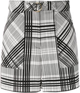 Diane von Furstenberg belted plaid shorts - women - Cotton/Spandex/Elastane - 4