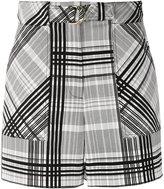 Diane von Furstenberg belted plaid shorts