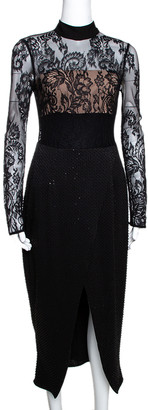 Self-Portrait Black Bead and Sequin Embellished Lace Midi Dress S
