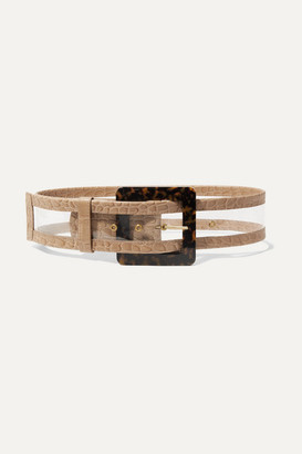 STAUD Croc-effect Leather-trimmed Pvc Waist Belt - Beige
