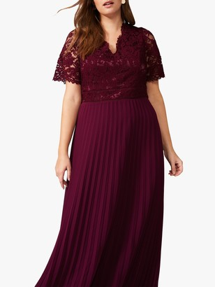 Studio 8 Ramona Lace Pleated Maxi Dress, Berry