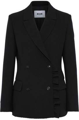 MSGM Double-breasted Ruffle-trimmed Crepe Blazer