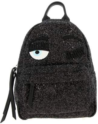Chiara Ferragni Backpack Small Flirting Backpack In Glitter Fabric With Embroidery