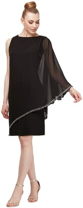 SL Fashions Women's One Shoulder Chiffon Cape Overlay with Beaded Trim Dress