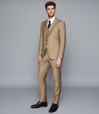 Reiss Barolo - Wool Modern Fit Waistcoat in Taupe