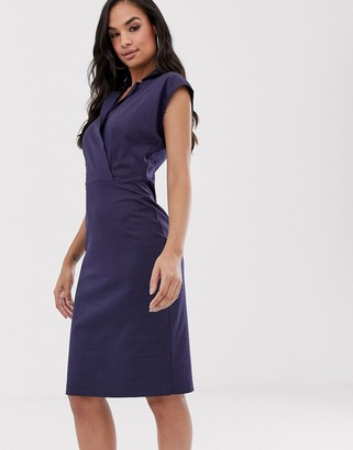 Closet London Closet wrap top pencil dress-Navy
