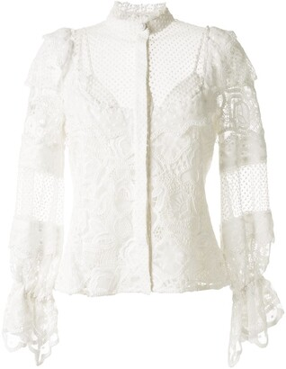 Alexis Lace-Insert Ruffle Blouse