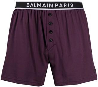 Balmain Logo Waistband Boxer Shorts