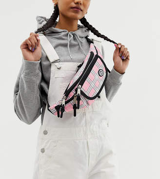 Hype Exclusive pink check bum bag