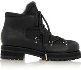 Jimmy Choo Ditto shearling-lined textured-leather and canvas ankle boots